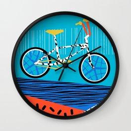Wheelie - roger decoster bmx, bikes, bike, bicycle art print, cycling, sports art print Wall Clock