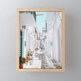 Street in Mykonos, Greece Framed Mini Art Print