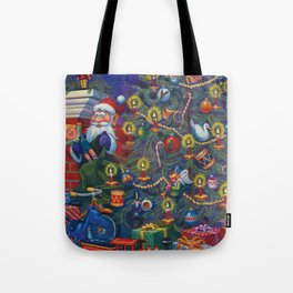 Santa Putting Presents Under The Tree Tote Bag