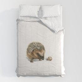 """""""Close Encounter"""" painting of a Hedgehog and Snail by Teresa Thompson Comforters"""