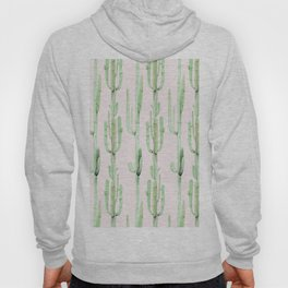 Green and Coral Pink Cactus Stack Pattern Hoody