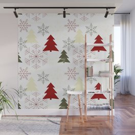 Christmas pattern with gift boxes and snowflakes. Wall Mural