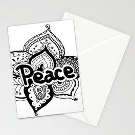 Peace lotus Motto saying mandala floral pattern Stationery Cards