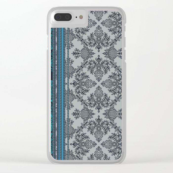 Teal, Aqua & Grey Vintage Bohemian Wallpaper Stripes Clear iPhone Case