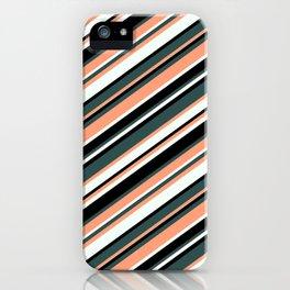 Dark Slate Gray, Light Salmon, Mint Cream & Black Colored Lines Pattern iPhone Case