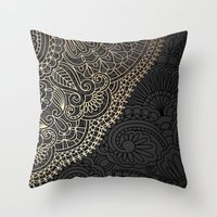 black and gold Throw Pillows featuring black & gold by Pink Berry Patterns