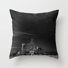 Neverwinter - Abandoned House Under Starry Night Sky in Black and White Throw Pillow