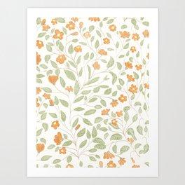 Spring Orange Floral Pattern Art Print