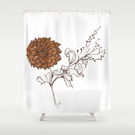 Aries Dahlia - Contemporary Botanical Shower Curtain