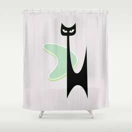 Mid Century Atomic Boomerang Cat Shower Curtain