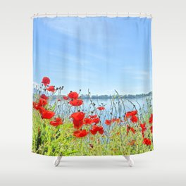Red poppies in the lakeshore Shower Curtain