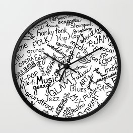 Music Genre Typographic Design Wall Clock