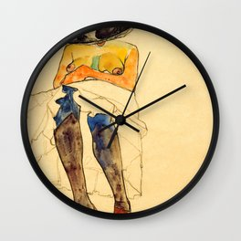 """Egon Schiele """"Seated semi-nude with hat and purple stockings"""" Wall Clock"""