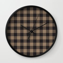Khaki Tan and Brown Buffalo Plaid Check Pattern Wall Clock