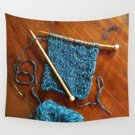 knitting photo, denim, denim photo, blue, wood, knitting, knit, brown, Wall Tapestry