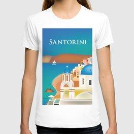 Santorini, Greece - Skyline Illustration by Loose Petals T-shirt