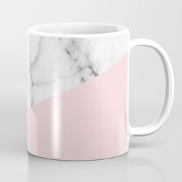 Real White Marble Half Powder Blush Pink Coffee Mug
