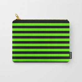 Bright Green and Black Horizontal Stripes Carry-All Pouch