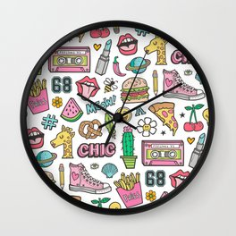 90's Vintage Patches Stickers Doodle Wall Clock
