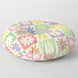 Colorful Flower Checkered Pattern Floor Pillow