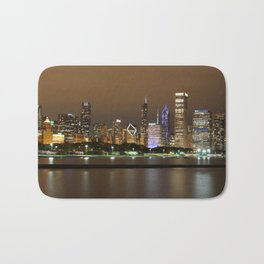 Beautiful river side city view in the night with colorful lights and tall buildings Bath Mat