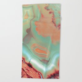 Living Coral and Teal Agate Beach Towel