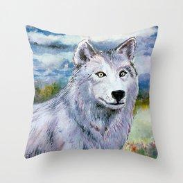 White Eyed White Wolf* Throw Pillow
