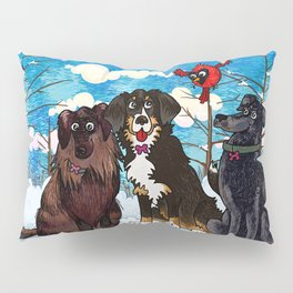 Three Dogs Posing in Winter Pillow Sham