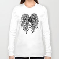 angel wings Long Sleeve T-shirts featuring Pink Galaxy Angel Wings by Mad Love