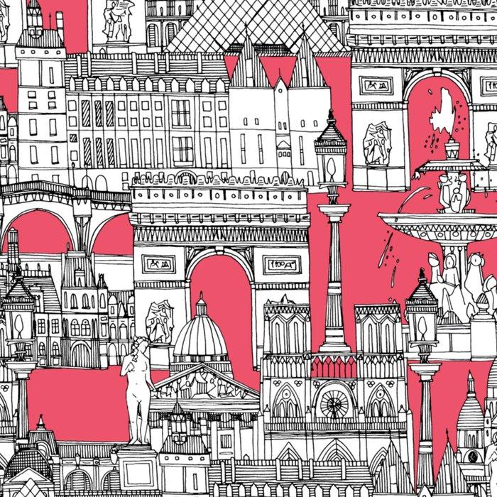 Paris toile strawberry pink Leggings