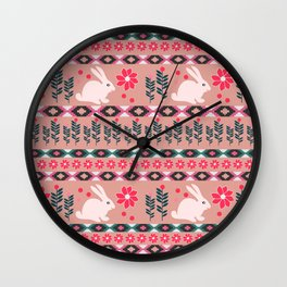 Ethnic decor with little bunnies Wall Clock