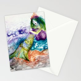Mermaid princess ponders life in a colorful sea Stationery Cards