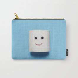 Happy smiling toilet paper on blue Carry-All Pouch