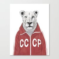 soviet Canvas Prints featuring Soviet lion by Balazs Solti