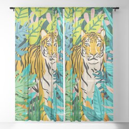 Only 3890 Tigers Left, Wildlife Vibrant Tiger Painting, Jungle Nature Colorful Illustration Sheer Curtain