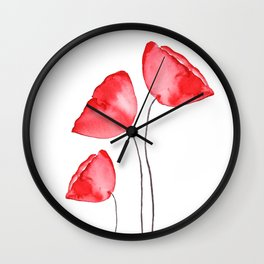 3 red poppies watercolor Wall Clock