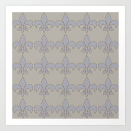 Fleur de lis....blue /orange color harmony neutral Art Print