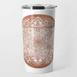Rose Gold Floral Mandala Travel Mug