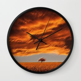 Rhode Island Tree and Timothy and Alfalfa Field Landscape Painting by Jeanpaul Ferro Wall Clock