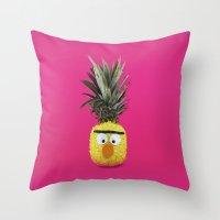 sesame street Throw Pillows featuring Bert - Sesame Street Pineapple by SandraSuarez