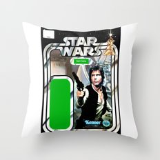 Han Solo Vintage Action Figure Card Throw Pillow