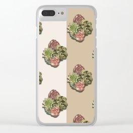 When Floral Meets Succulent (Beige & Cream) Clear iPhone Case