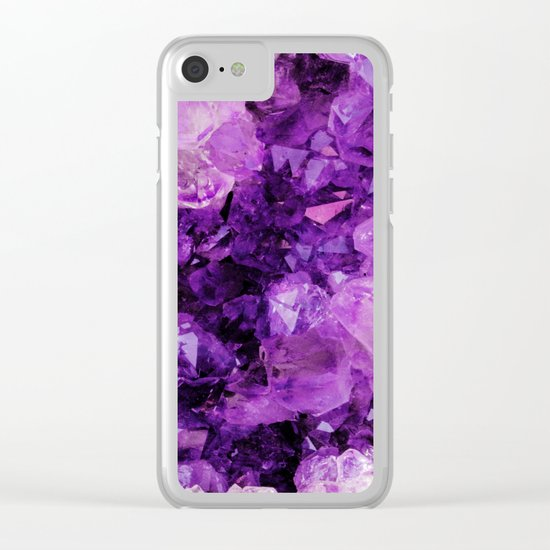 Purple Amethyst Crystals Clear iPhone Case