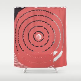 Red abstract geometrical Shower Curtain