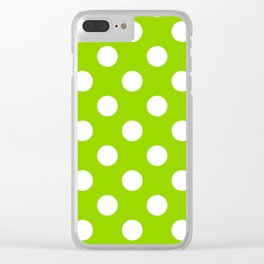 Sheen green - green - White Polka Dots - Pois Pattern Clear iPhone Case