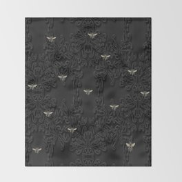 Black Bees and Lace Throw Blanket