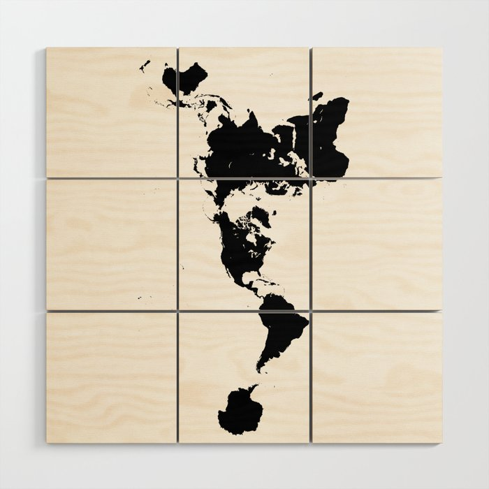 Dymaxion World Map (Fuller Projection Map) - Minimalist Black on ...