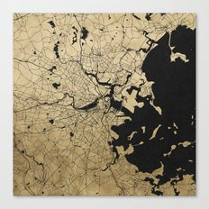 Boston Black and Gold Map Canvas Print