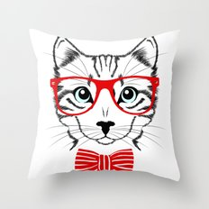 Hipster Cat with Red Glasses Throw Pillow