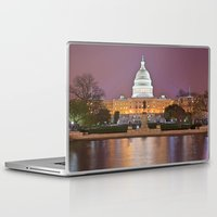 washington dc Laptop & iPad Skins featuring Glowing Washington DC Capitol by Nicolas Raymond